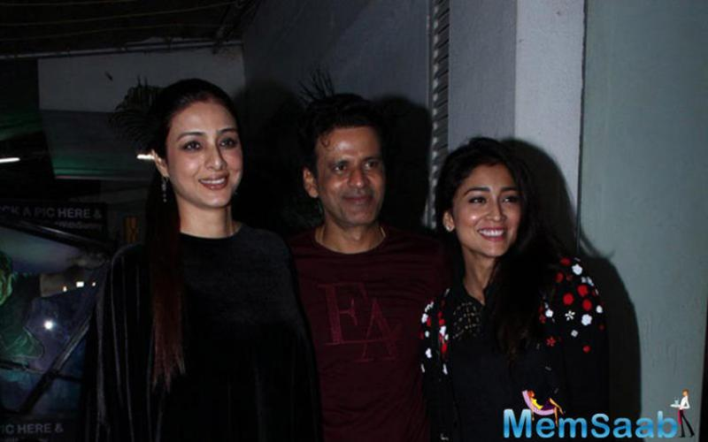 Pretty 'Drishyam' actresses Tabu and Shriya Saran turned up to the screening of the upcoming controversial film 'Aligarh' and pose with Manoj Bajpai with all smile.
