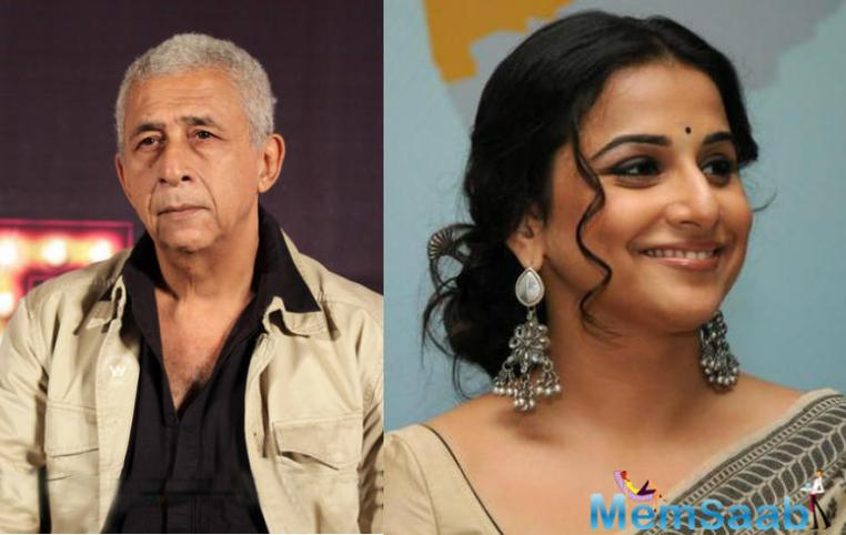 Vidya Balan, who was working  with Naseeruddin Shah in two films like Ishqiya and Dirty Picture, said she is always nervous about to share screen space with him.