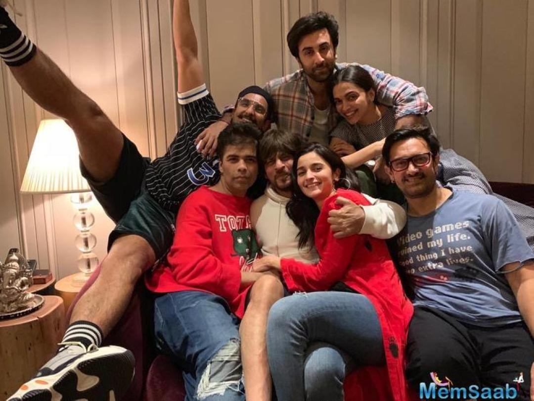 It was the first time that two current couples, Ranveer-Deepika and Alia-Ranbir were seen in the same frame, while getting two Khans together isn't all that rare nowadays, but always a pleasant sight.