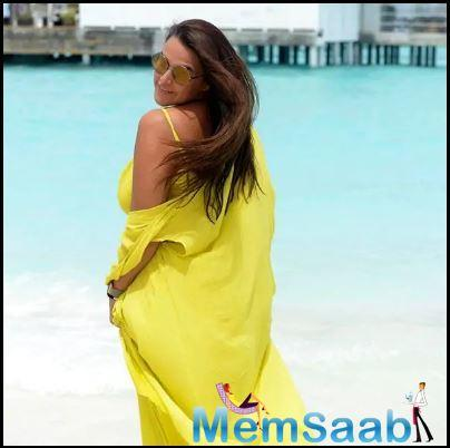 Neha Dhupia turns 39 today and she is making the most of her special day in the Maldives.