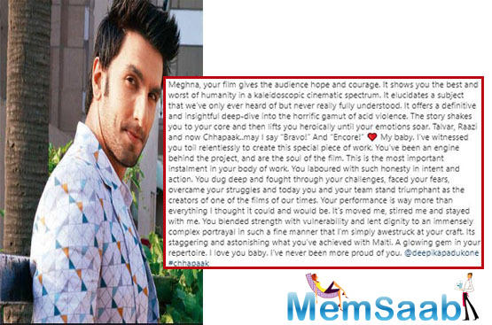 Talking about the stellar performance by Deepika, Ranveer continued the lengthy post,