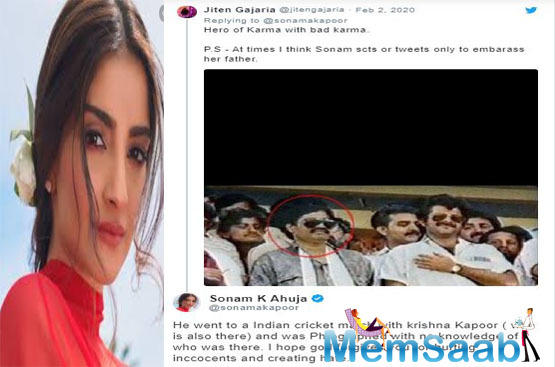 Responding to which, Sonam took to her twitter profile and went on to admit that her father's relationship with Dawood was neither of Karma nor of dharma but of cricket.