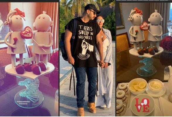Both Arjun and Malaika shared pictures of a cute table centerpiece set up at their hotel room