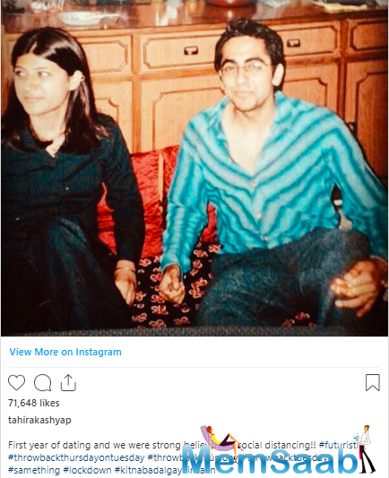 Taking to her Instagram Account, Tahira Kashyap shared a rather romantic and rare picture with Khurrana when they were in their first year of dating and already strong believers of social distancing.