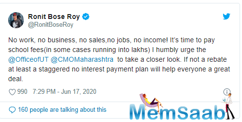 Ronit Roy tweet comes at a time when schools in Maharashtra are reportedly planning to reopen in July.
