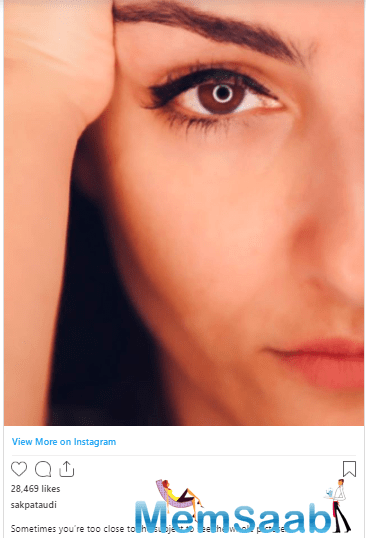 In her latest post, she shared an image of half of her face.