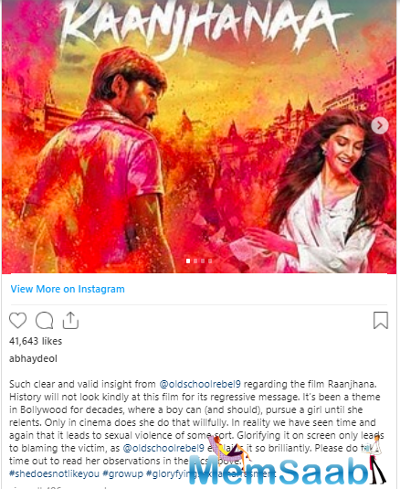 This is what he had to write about Raanjhanaa and why history won't be kind to this film due to its regressive messaging.