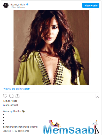 As soon as she shared the post, her 'Main Tera Hero' co-star Nargis Fakri was all praise for Ileana.