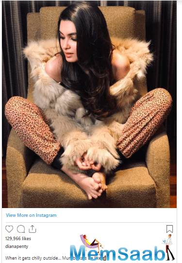 """The 'Cocktail' actress shared a picture sporting a furry outfit on her social media handle and wrote, """"When it gets chilly outside... Mumbaikars be like."""""""