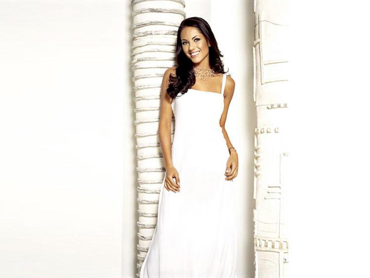 Barbara Mori Long White Dress Awesome Still