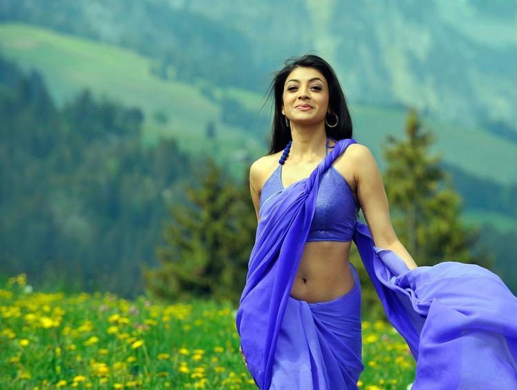 Kajal Agarwal Dual Color Saree Gloriouc Photo In Veera Movie