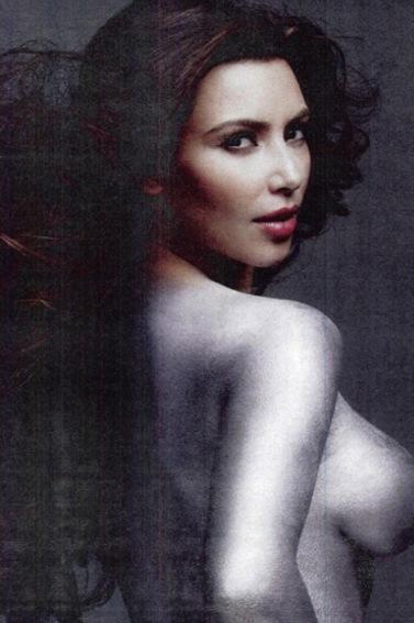 Kim Kardashian  Picture In Silver Paint