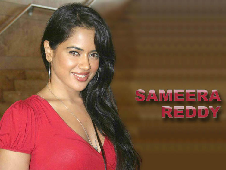 Sameera Reddy Red Dress Sweet Smile Pic Wallpaper