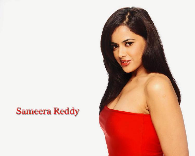 Sameera Reddy Red Sleeveless Dress Gorgeous Wallpaper