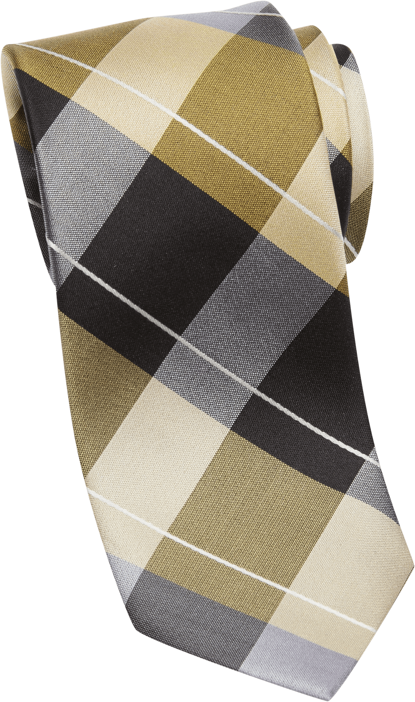 Esquire Gold and Black Check Skinny Tie