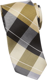 Esquire Gold and Black Check Skinny Tie - Men's Regular ...