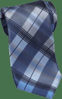 Calvin Klein Blue Plaid Extra Long Narrow Tie - Men's ...
