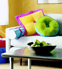 bright colored pillows