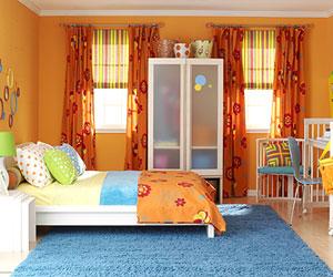 teen orange bedroom
