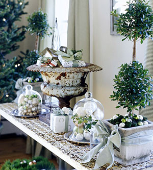 close up of table with Christmas decorations