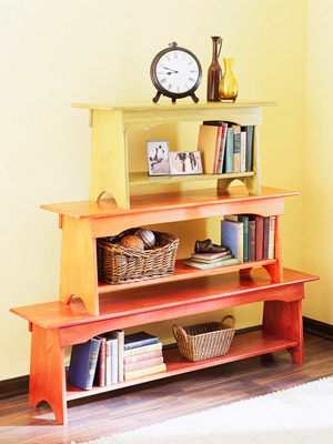 Stacked bench bookcase