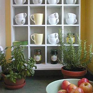 coffee mugs in holder