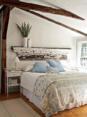 white bedroom with blue bedding