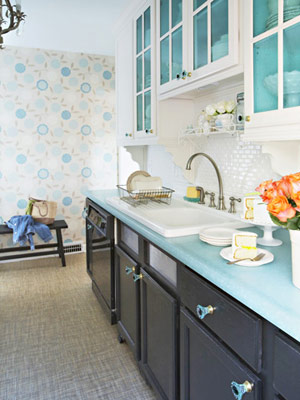 teal with black cabinet