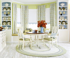 blue and green dininig set