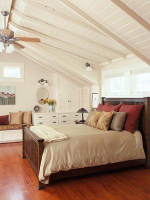 bedroom w/pointed ceiling
