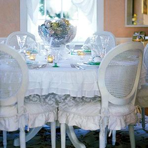 white and pastel dining room
