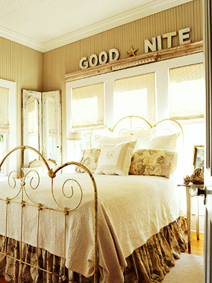 neutral bedroom with good nite letters