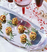 Pistachio Pink Peppercorn-Coated Herbed Goat Cheese