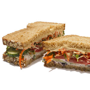 Whole Grain Hummus Sandwich With Veggies