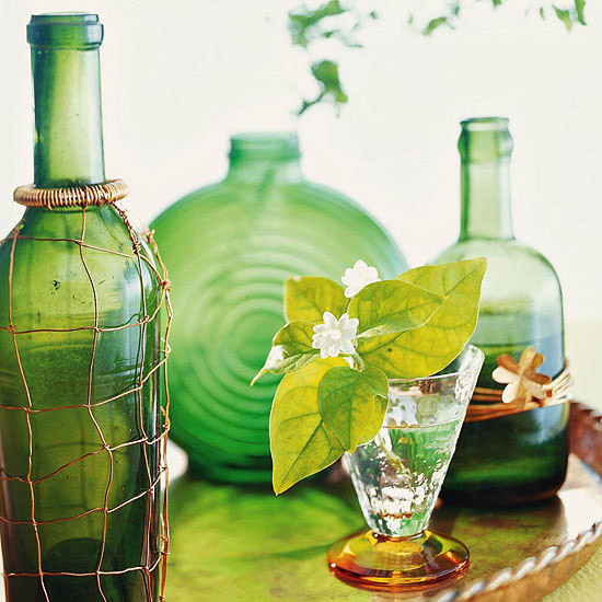 Green Glass Display st.patrick decoration