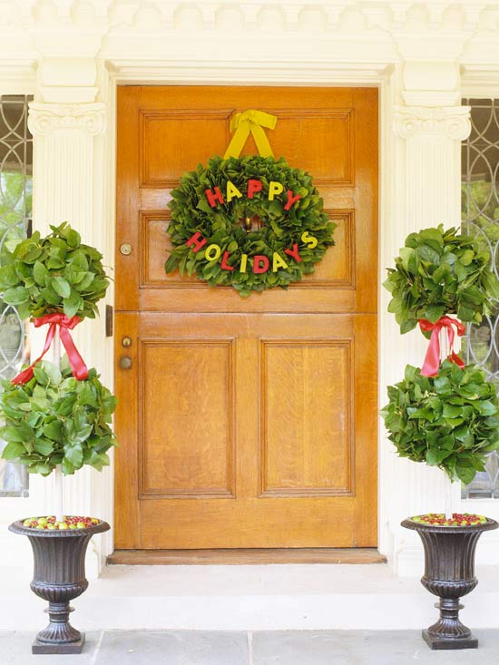 Christmas Door Decorating Ideas Pretty Wreaths and More from Better Homes  Gardens
