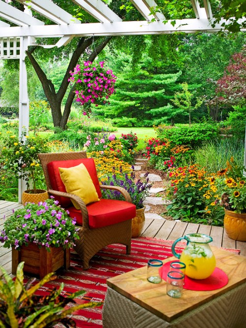 Outdoor Living Spaces Outdoor Patio Garden Living Area with Flowers and Greenery