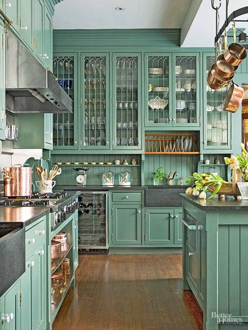 Painted Kitchen Cabinets Cabinetry Color Colorful Green Glass Wood Floor Farmhouse Sink Apron Apron-Front Copper Pots Hanging Pot Rack Range Hood Beadboard Leaded Glass