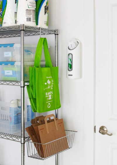 Re-Usable Shopping Bag Storage {for the garage or mudroom}