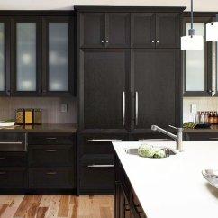 Kitchen Black Cabinets Live Edge Table