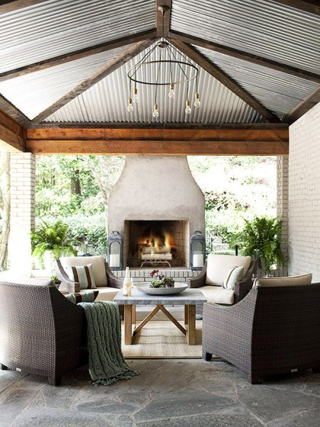 outdoor living space with fireplace Outdoor Fireplace Ideas