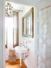 Bathroom Lighting Vintage Style : Awesome Orange Bathroom