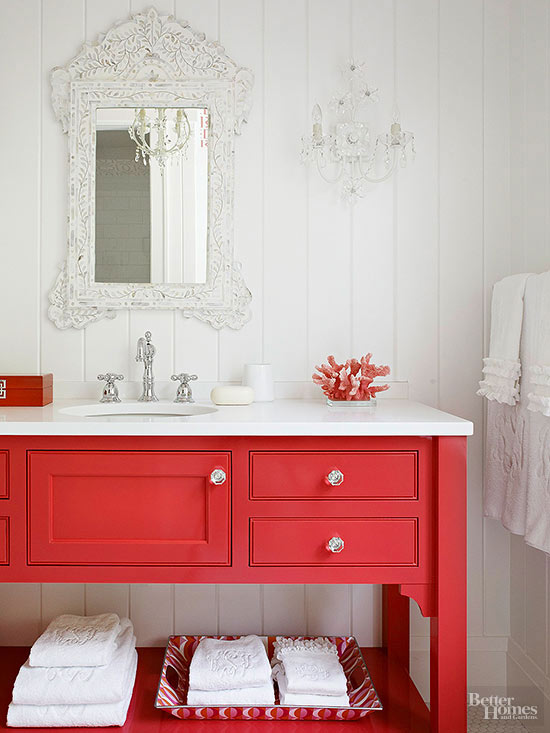 Decorating with Red: Our eye goes to color, so enhance the rooms focal point with red!