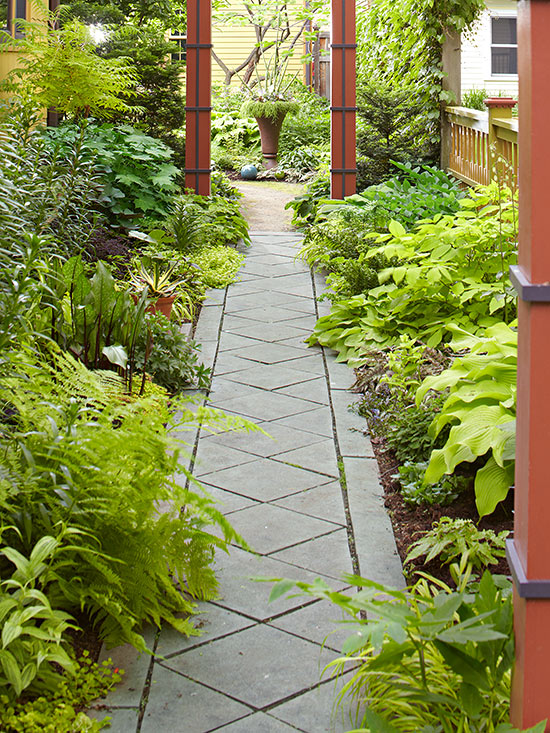 garden path ideas cut stone walkways