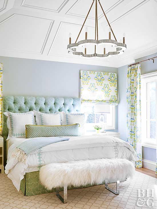 Chandelier Tufted Headboard Bedroom