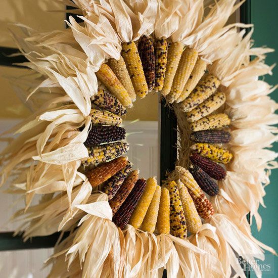 corn husk fall wreath