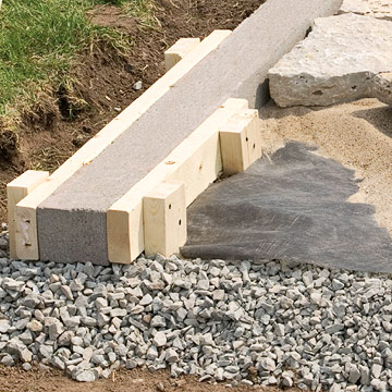 installing edging - patio & wall