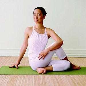 Seated spinal twist yoga pose, yoga