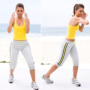Maria Menounos doing elbow strike, knee strike
