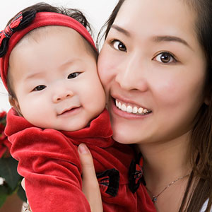 mother and baby family protrait